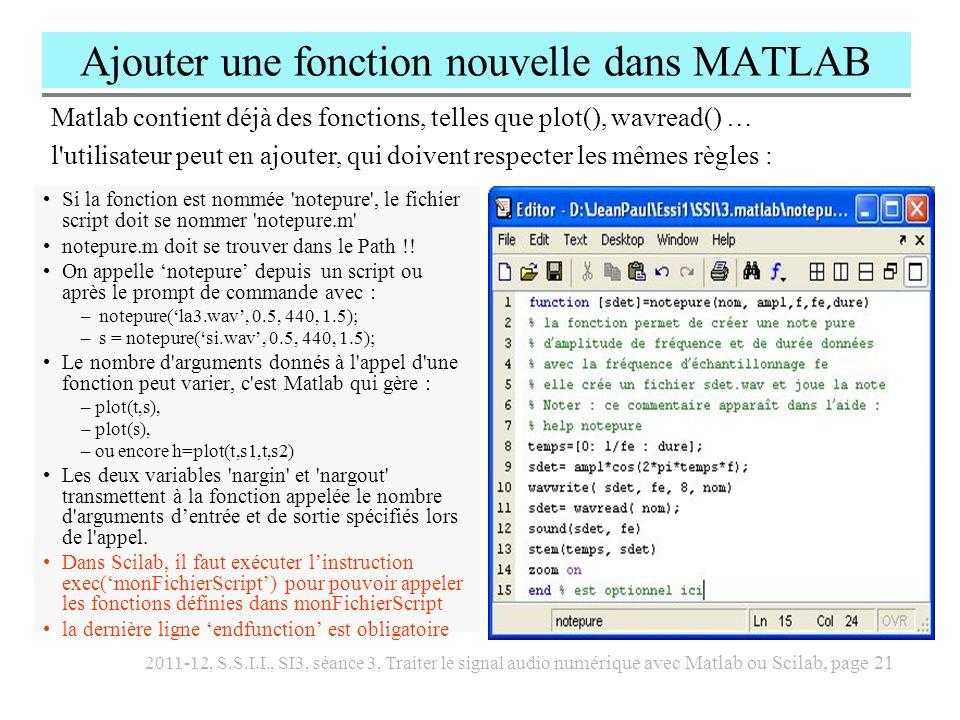 Ajouter une fonction nouvelle dans MATLAB