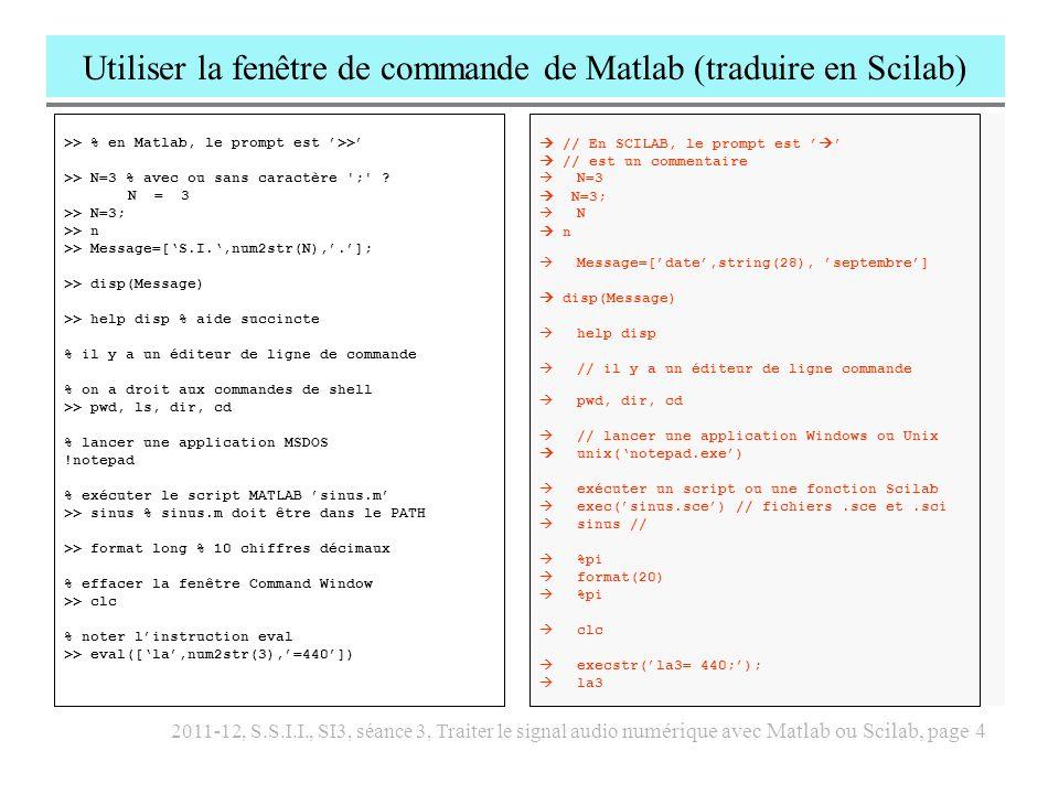 Utiliser la fenêtre de commande de Matlab (traduire en Scilab)