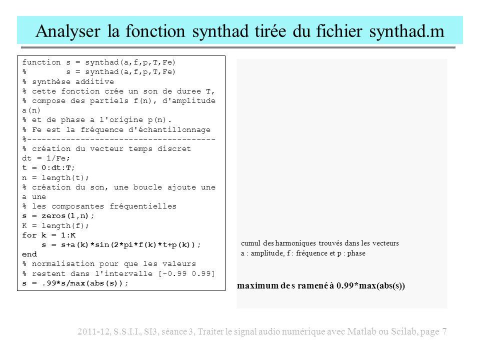 Analyser la fonction synthad tirée du fichier synthad.m