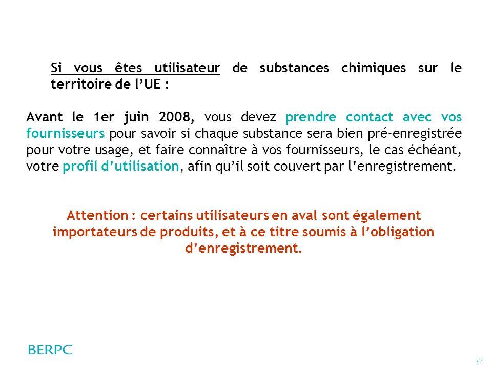 Si vous êtes utilisateur de substances chimiques sur le territoire de l'UE :