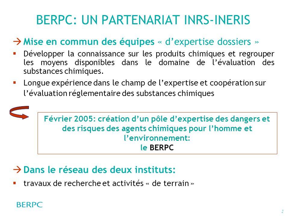 BERPC: UN PARTENARIAT INRS-INERIS