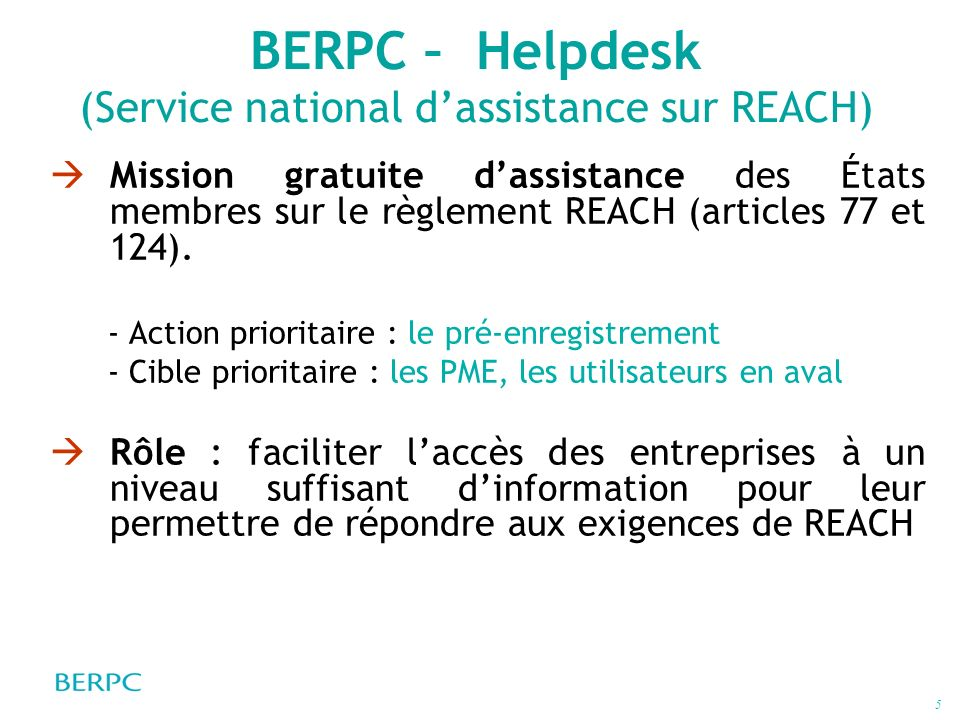 BERPC – Helpdesk (Service national d'assistance sur REACH)