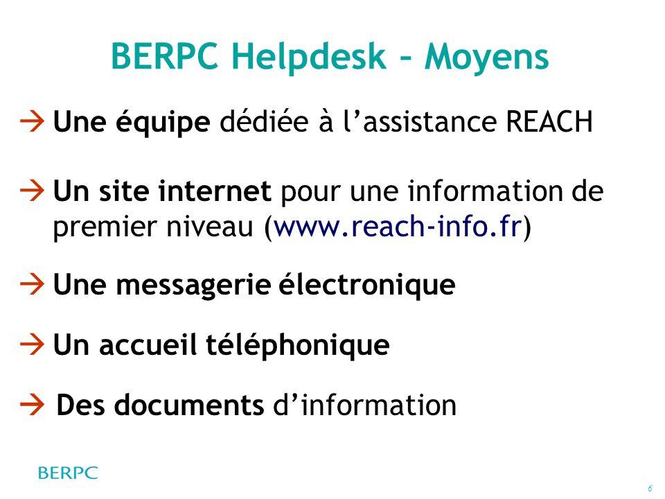 BERPC Helpdesk – Moyens