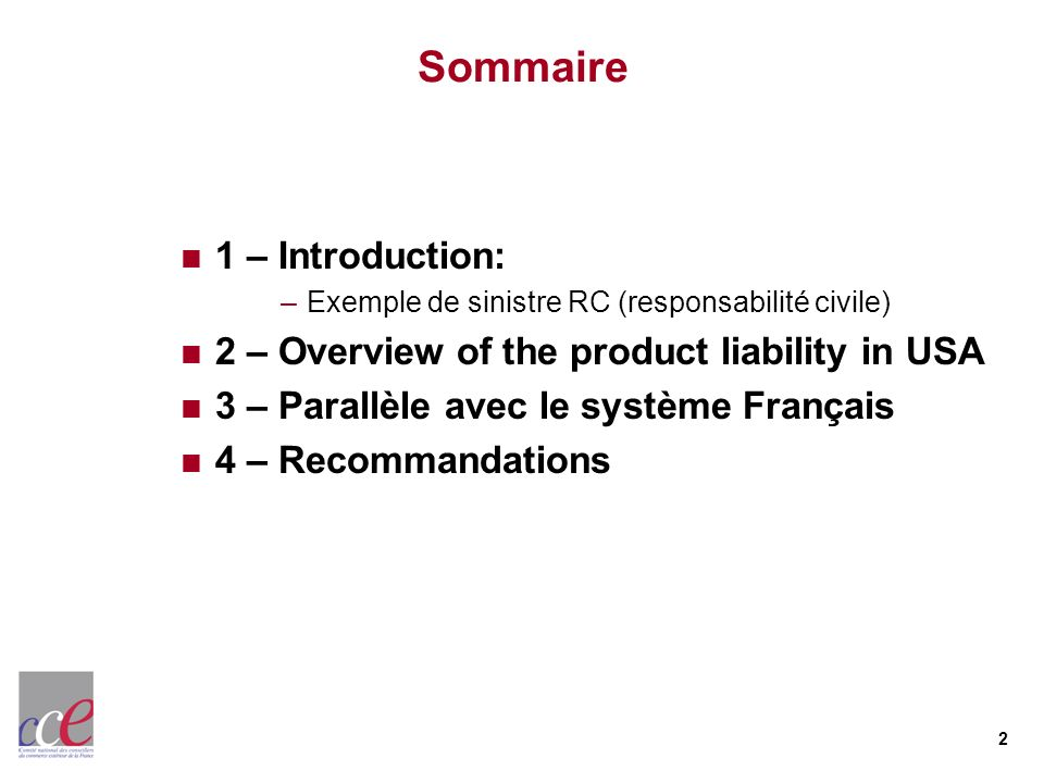 Sommaire 1 – Introduction: