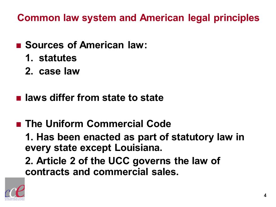 Common law system and American legal principles