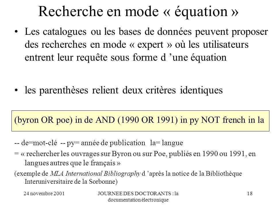 Recherche en mode « équation »
