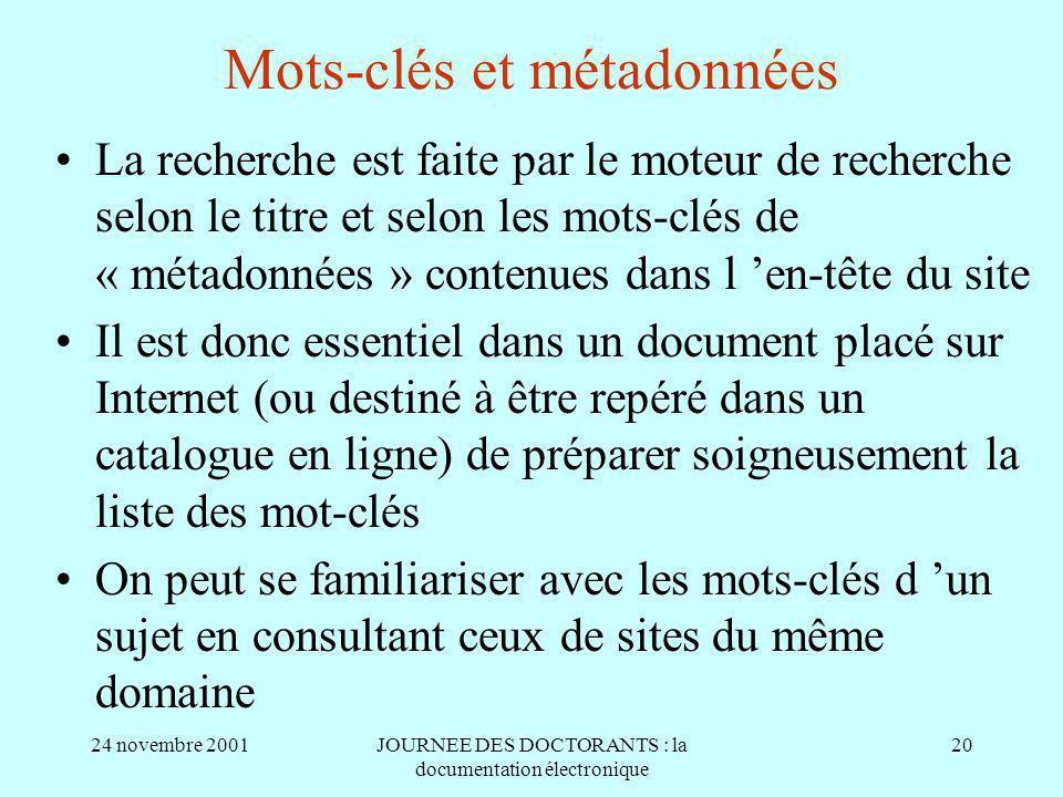 Mots-clés et métadonnées