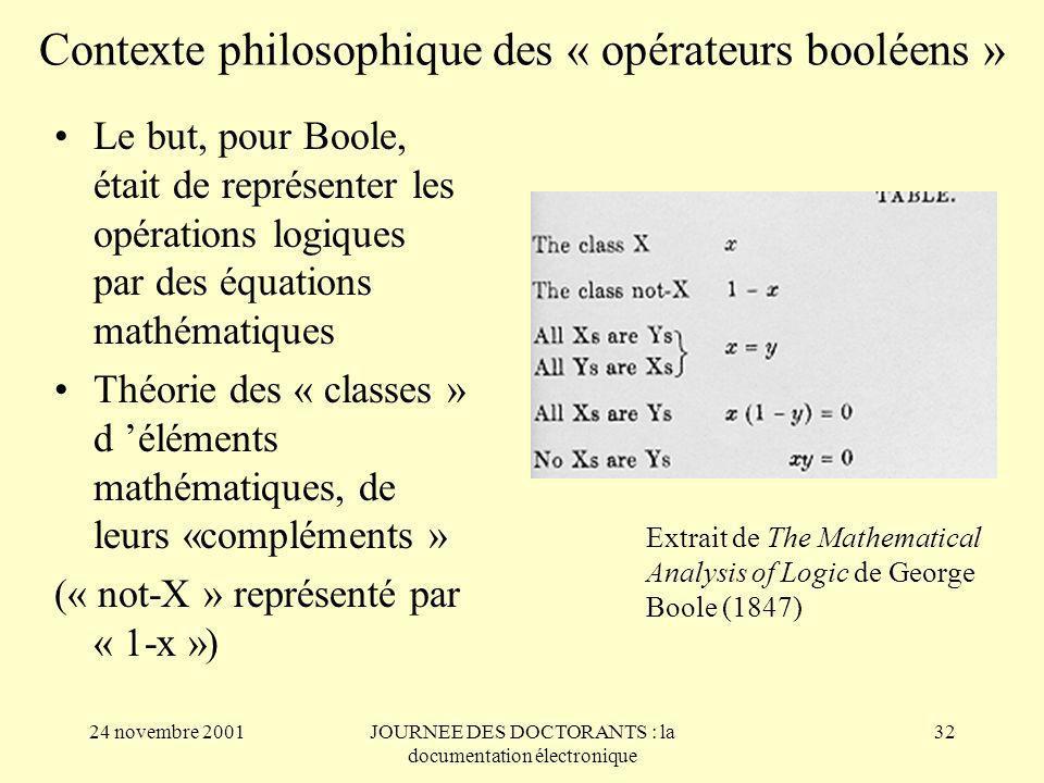 Contexte philosophique des « opérateurs booléens »