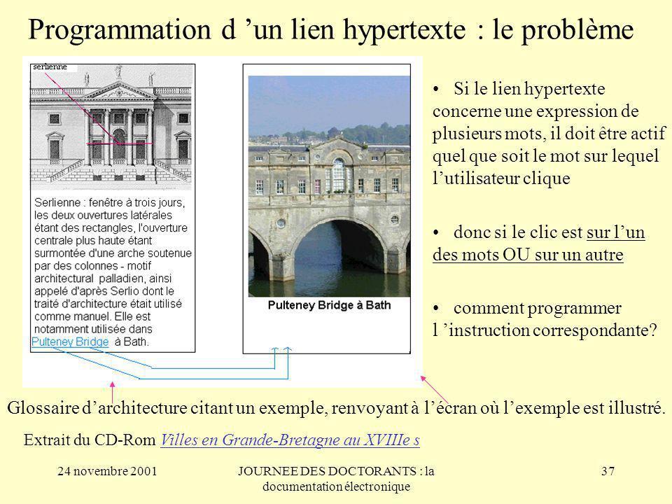 Programmation d 'un lien hypertexte : le problème