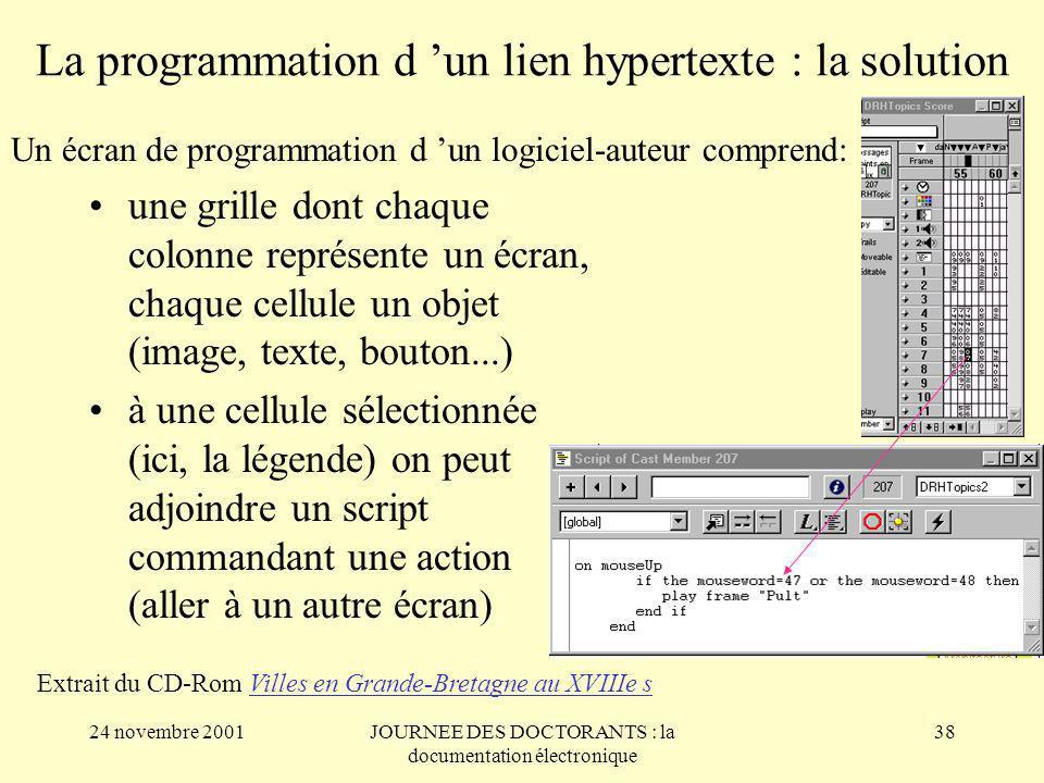 La programmation d 'un lien hypertexte : la solution