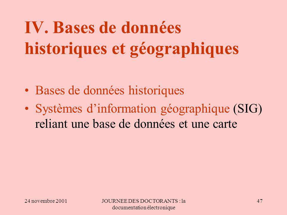 IV. Bases de données historiques et géographiques