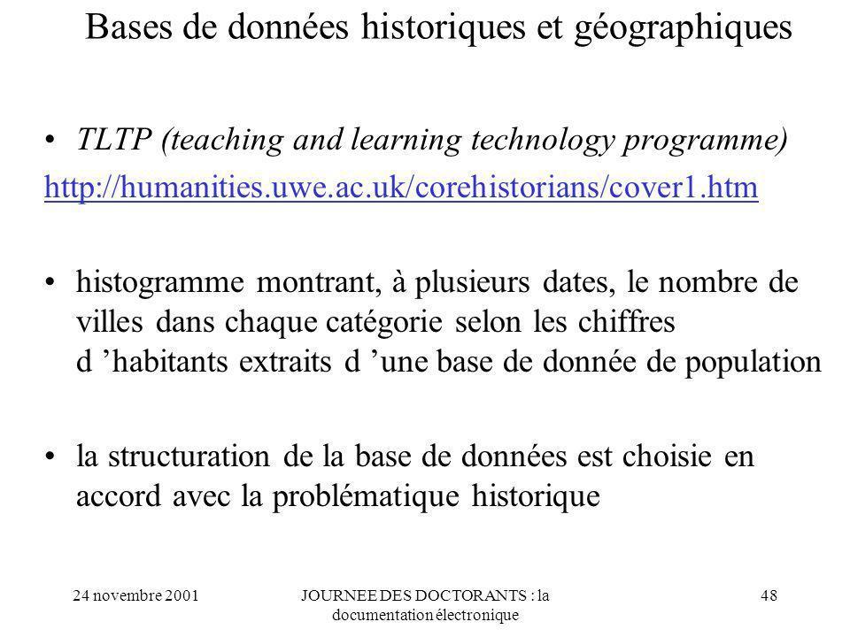 Bases de données historiques et géographiques