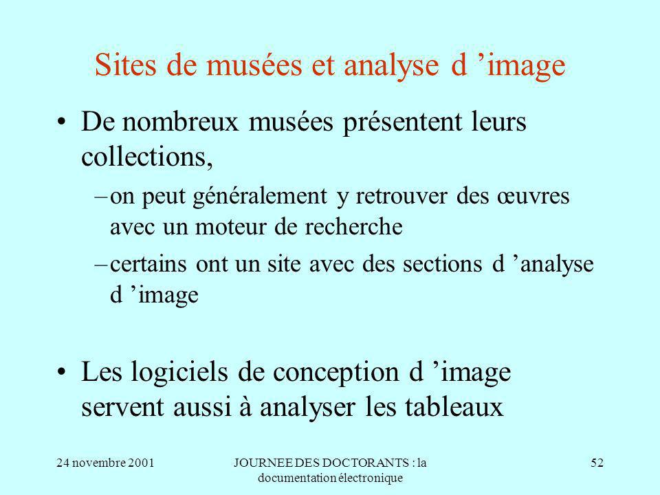 Sites de musées et analyse d 'image