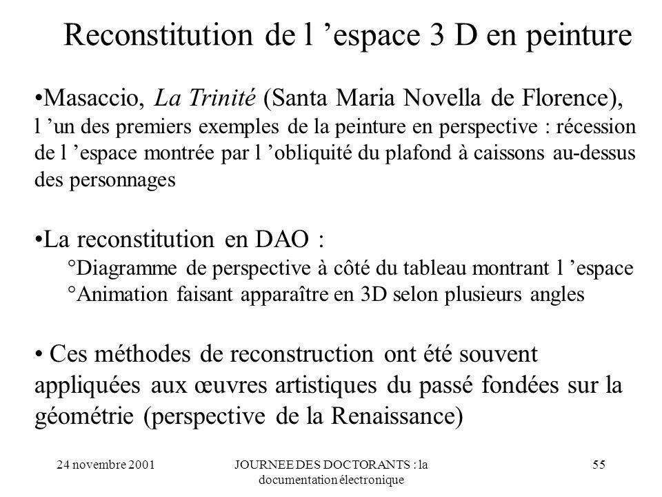 Reconstitution de l 'espace 3 D en peinture