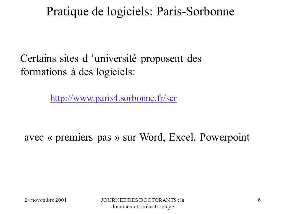 Pratique de logiciels: Paris-Sorbonne