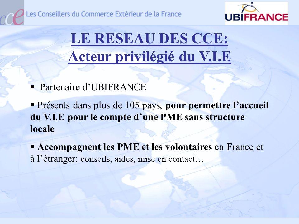 LE RESEAU DES CCE: Acteur privilégié du V.I.E