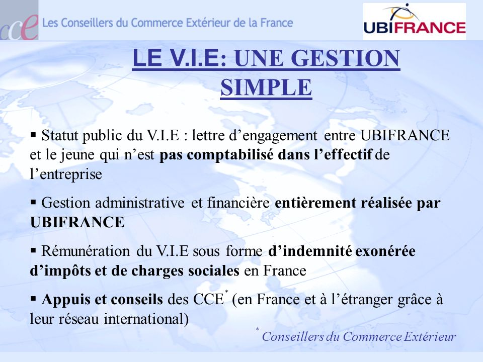 LE V.I.E: UNE GESTION SIMPLE