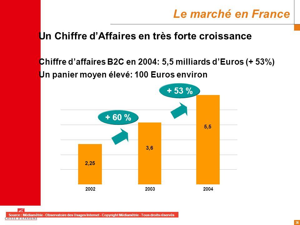 Le marché en France Un Chiffre d'Affaires en très forte croissance