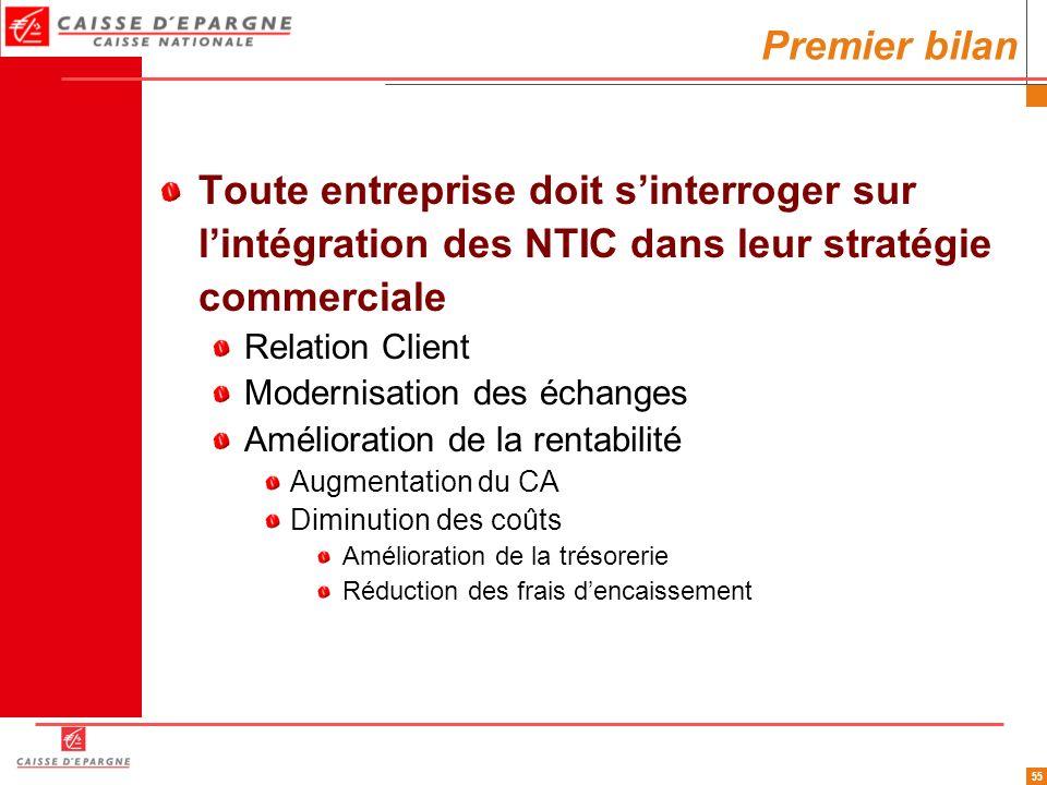 Premier bilan Toute entreprise doit s'interroger sur l'intégration des NTIC dans leur stratégie commerciale.