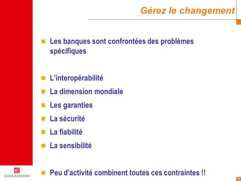 Gérez le changement Les banques sont confrontées des problèmes spécifiques. L'interopérabilité. La dimension mondiale.