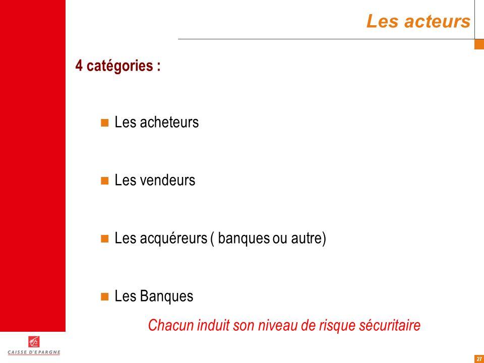 Les acteurs 4 catégories : Les acheteurs Les vendeurs