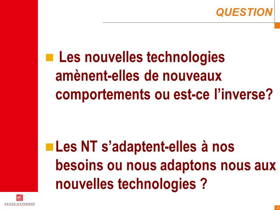 QUESTION Les nouvelles technologies amènent-elles de nouveaux comportements ou est-ce l'inverse