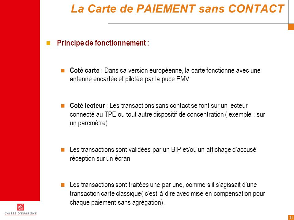 La Carte de PAIEMENT sans CONTACT