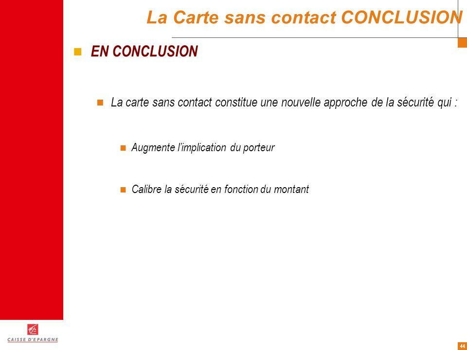 La Carte sans contact CONCLUSION