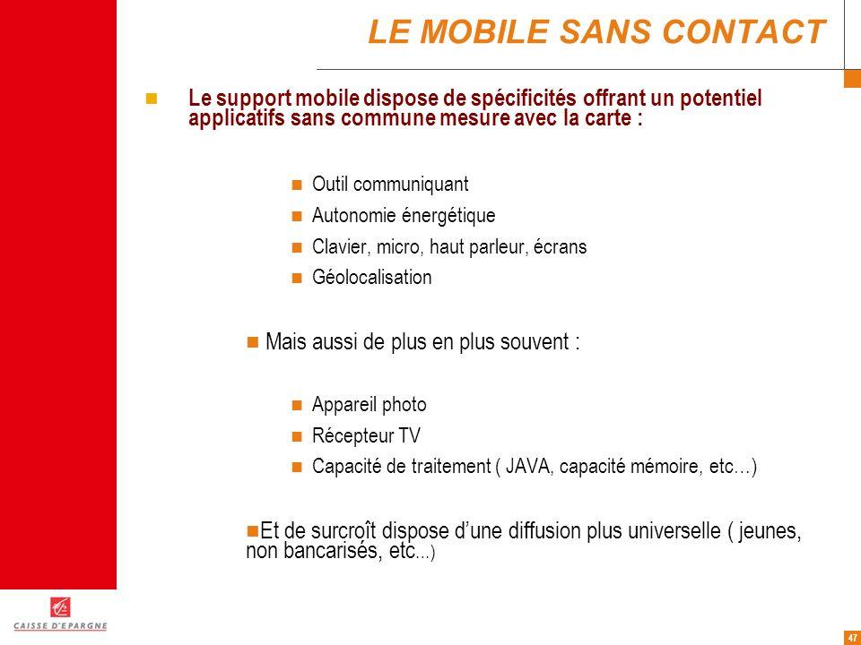 LE MOBILE SANS CONTACT Le support mobile dispose de spécificités offrant un potentiel applicatifs sans commune mesure avec la carte :