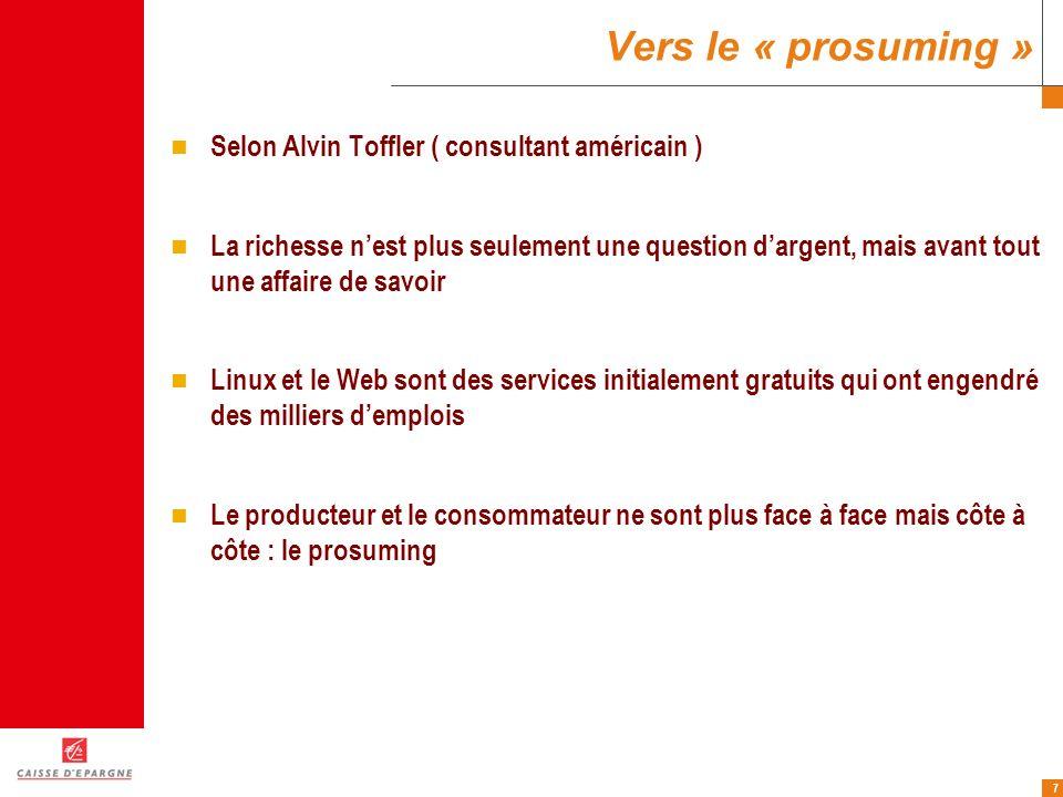 Vers le « prosuming » Selon Alvin Toffler ( consultant américain )