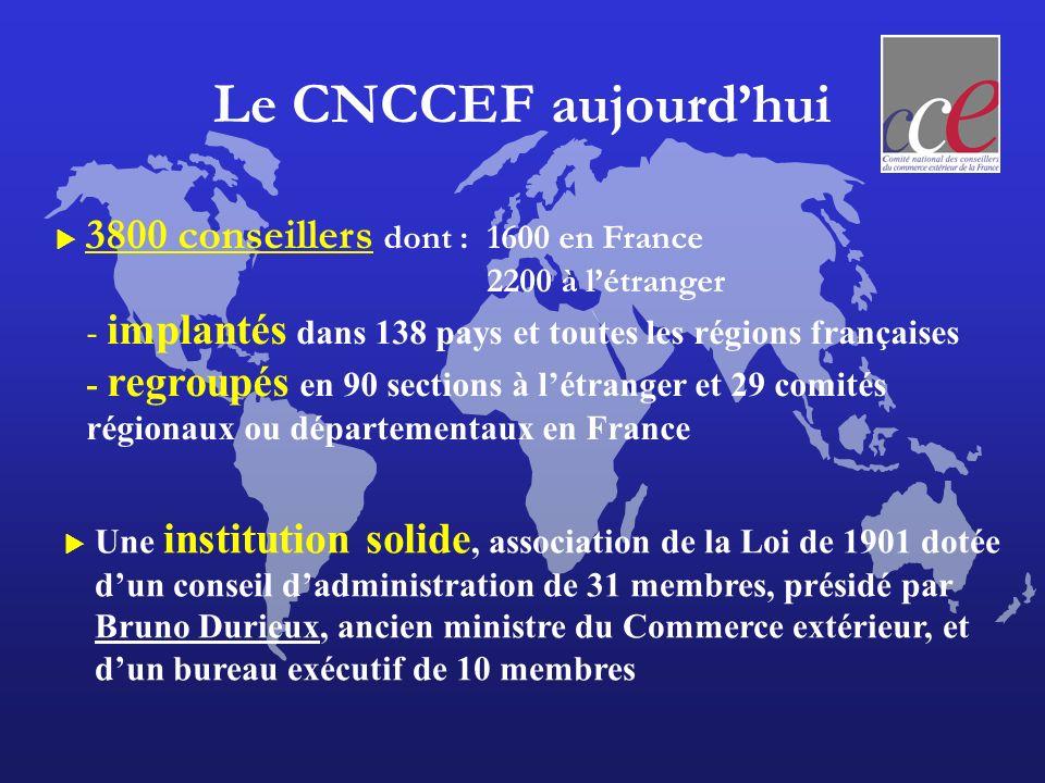 Le CNCCEF aujourd'hui  3800 conseillers dont : 1600 en France 2200 à l'étranger. - implantés dans 138 pays et toutes les régions françaises.