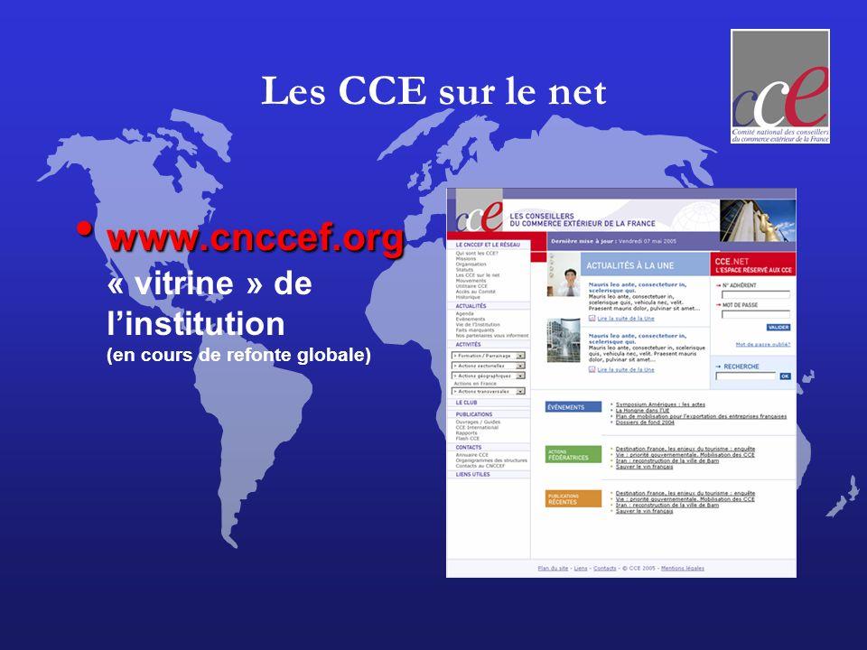 Les CCE sur le net www.cnccef.org « vitrine » de l'institution (en cours de refonte globale)