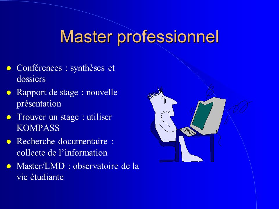 Master professionnel Conférences : synthèses et dossiers