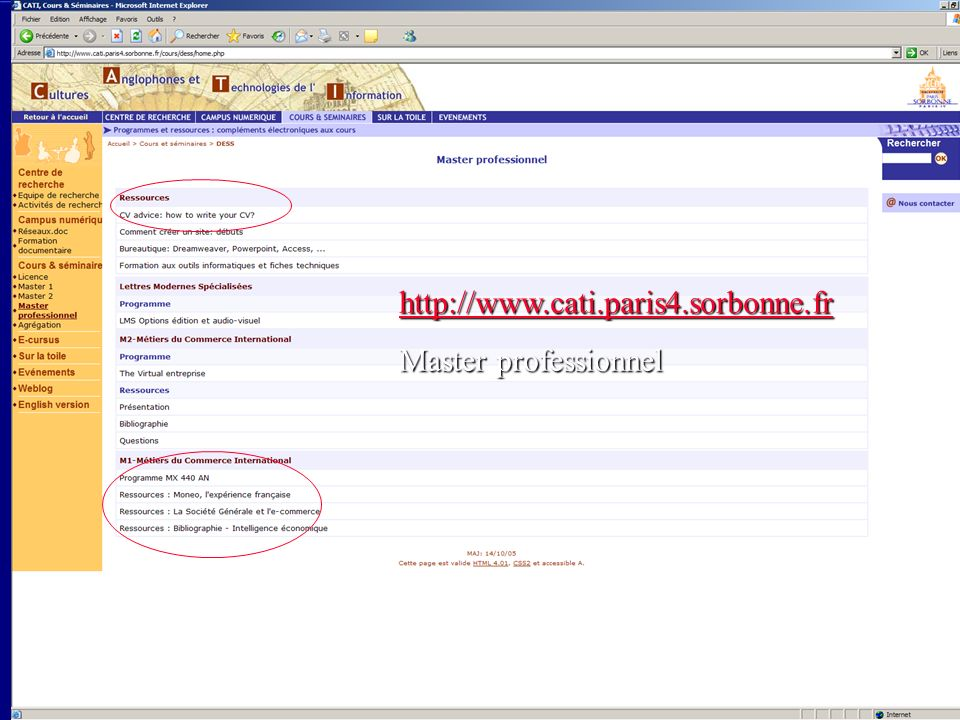 http://www.cati.paris4.sorbonne.fr Master professionnel