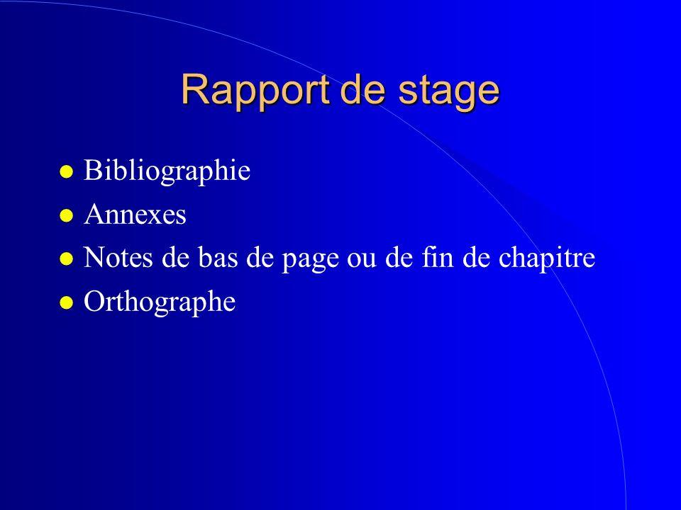 Rapport de stage Bibliographie Annexes