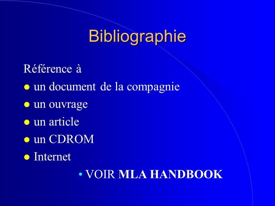Bibliographie Référence à un document de la compagnie un ouvrage