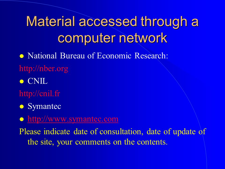 Material accessed through a computer network