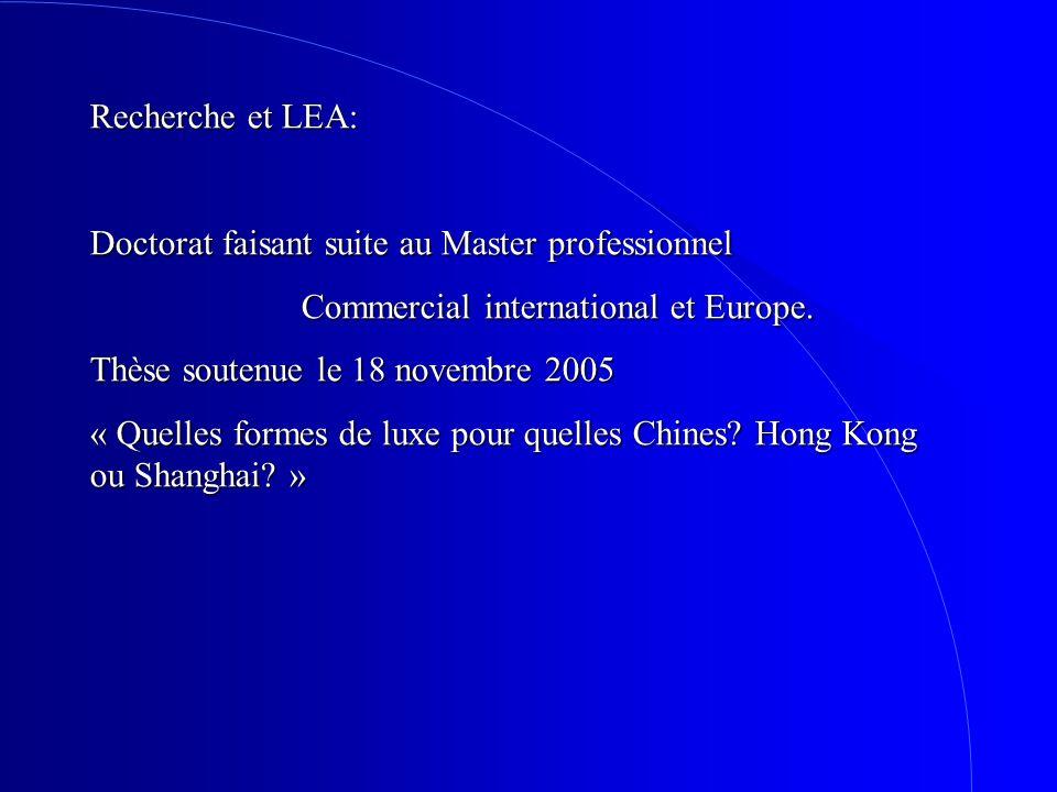 Recherche et LEA: Doctorat faisant suite au Master professionnel. Commercial international et Europe.