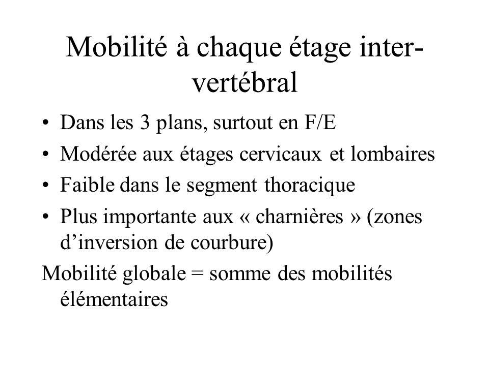 Mobilité à chaque étage inter-vertébral