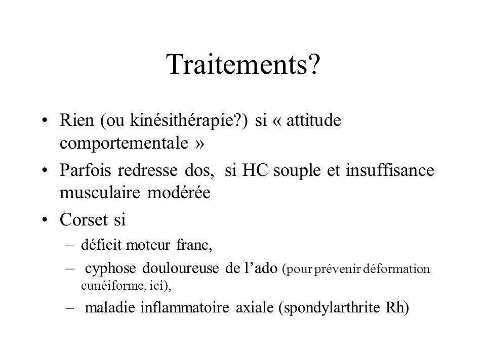 Traitements Rien (ou kinésithérapie ) si « attitude comportementale »