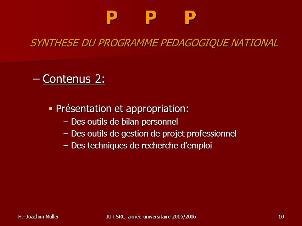 P P P SYNTHESE DU PROGRAMME PEDAGOGIQUE NATIONAL