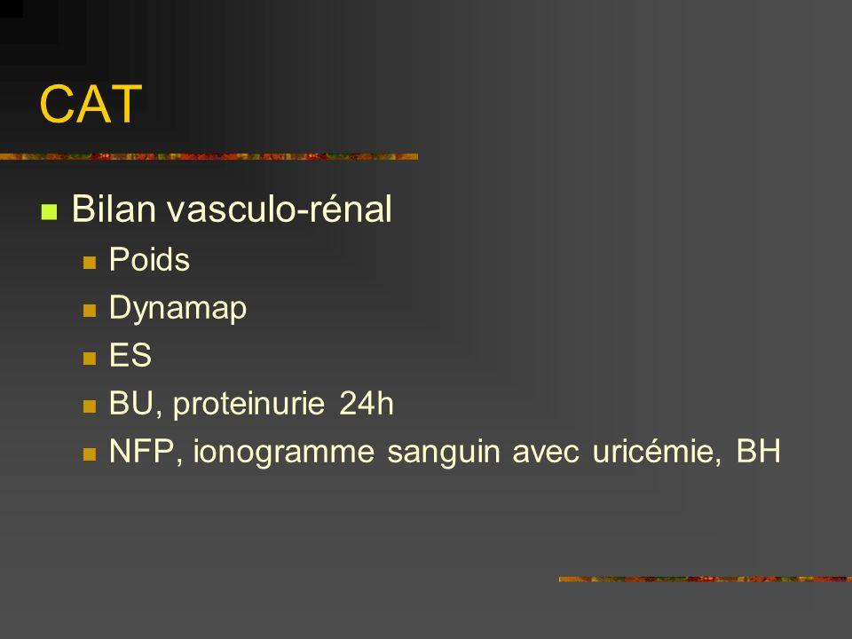CAT Bilan vasculo-rénal Poids Dynamap ES BU, proteinurie 24h