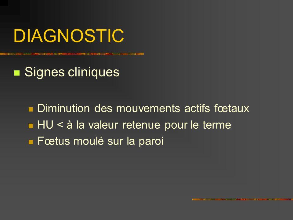DIAGNOSTIC Signes cliniques Diminution des mouvements actifs fœtaux