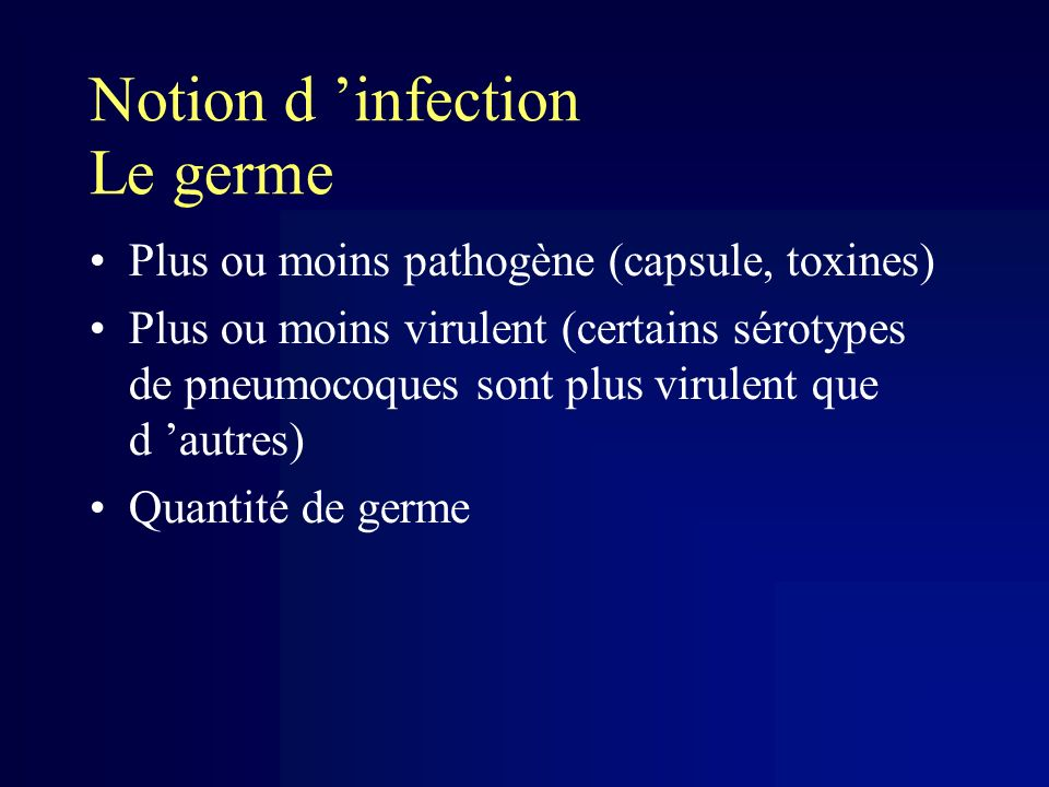 Notion d 'infection Le germe