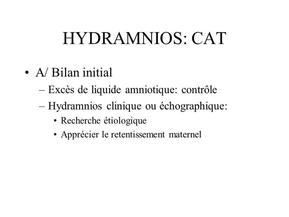 HYDRAMNIOS: CAT A/ Bilan initial Excès de liquide amniotique: contrôle
