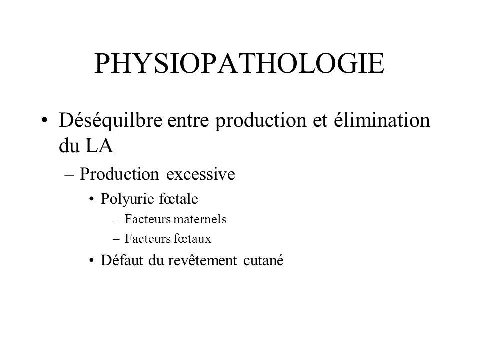 PHYSIOPATHOLOGIE Déséquilbre entre production et élimination du LA