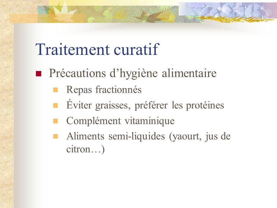 Traitement curatif Précautions d'hygiène alimentaire Repas fractionnés