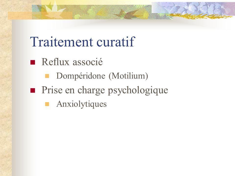 Traitement curatif Reflux associé Prise en charge psychologique