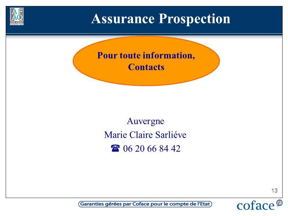Assurance Prospection Pour toute information, Contacts
