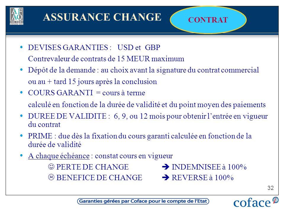 ASSURANCE CHANGE CONTRAT DEVISES GARANTIES : USD et GBP